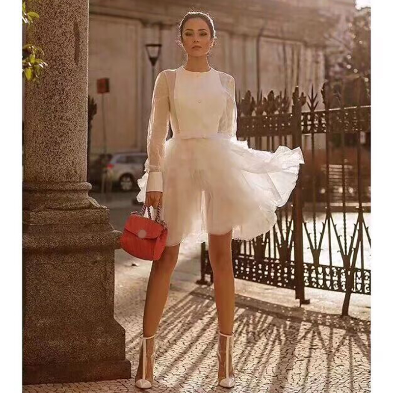 2019 new spring summer women's sexy perspective dress tulle cascading ruffled long sleeve round neck white mini dress Robe