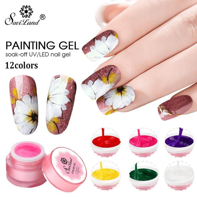 Saviland 1 sztuk żel UV 3D malowanie farbą polski farba do dekoracji paznokci wyciągnąć brokat 12 kolorów tipsy akrylowe sztuki Bio żel polski