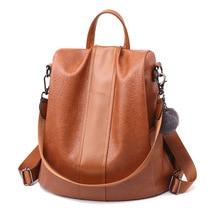 цены Multifunction Women Backpack Leather Female School Shoulder Bags for Teenage Girls Anti Theft Backpack Women Travel Back Pack