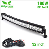 Free shipping 32'' inch combo waterproof IP67 offroad led work light bar 180W curved led light bars car driving light 12v