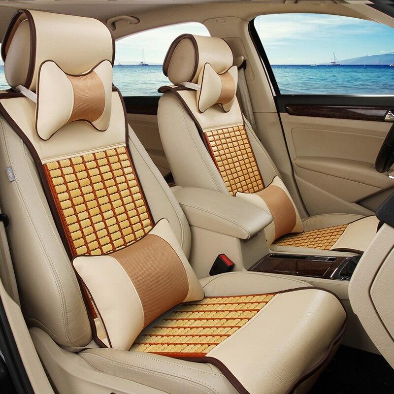 Nouveau automobile printemps, été, automne général clé en main tapis de refroidissement en cuir housse de siège de voiture de bambou spécial ensembles de coussin