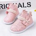 Tamaño 14-18 nuevo 2016 primavera y el verano de encaje rhinestone princesa shoes baby girls botas