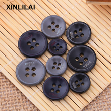 100pcs Hangdmade Wooden Buttons Solid Resin Color Four Holes Letter Convex Shirt  DIY Crafts