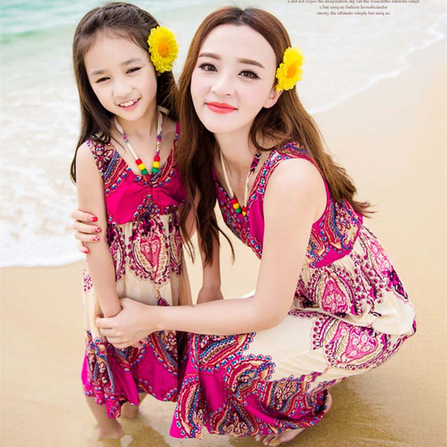 New 2017 summer Family look clothing casual Blue flower dress mother ...