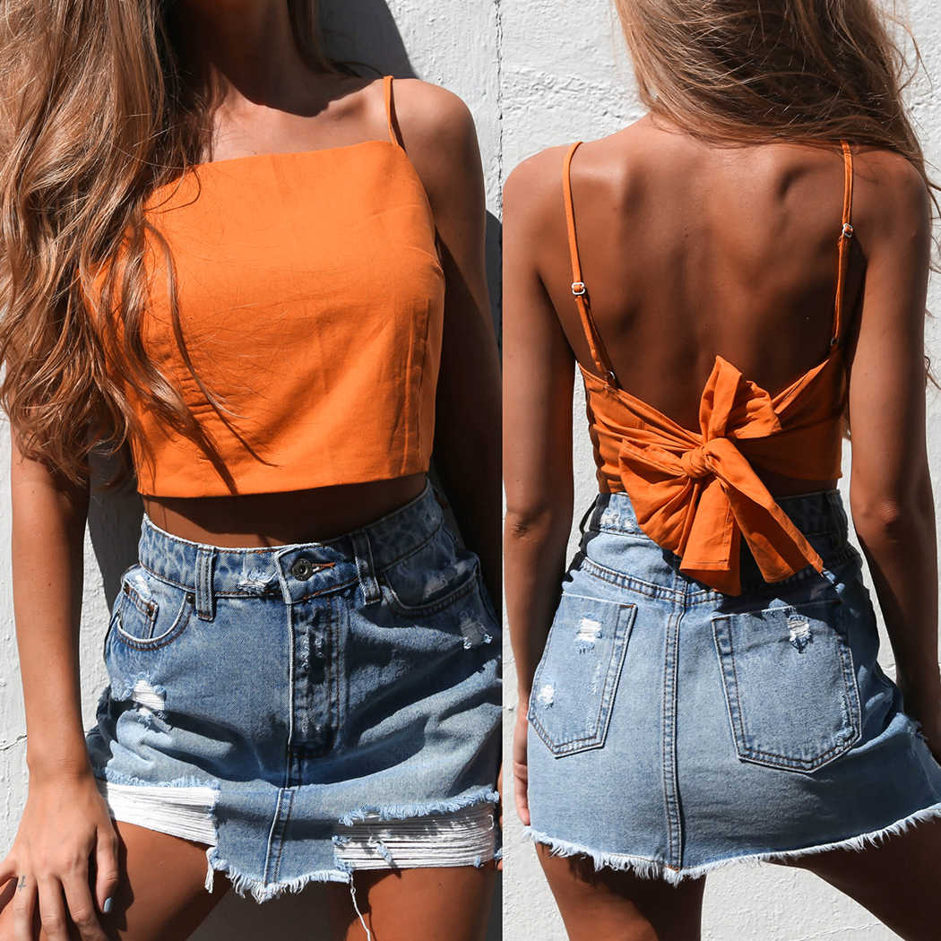 6af39c24a5b Sexy Backless Crop Top Women Camisole Blouse 2018 Summer Lace Up Bow Sleeveless  Tank Tops Boho