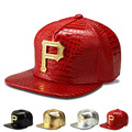2016 High Quality Brand Golden P Letter Metal Logo PU Hip Hop Hat Baseball Red Silver Black Crocodile Rhinestone Snapback Caps