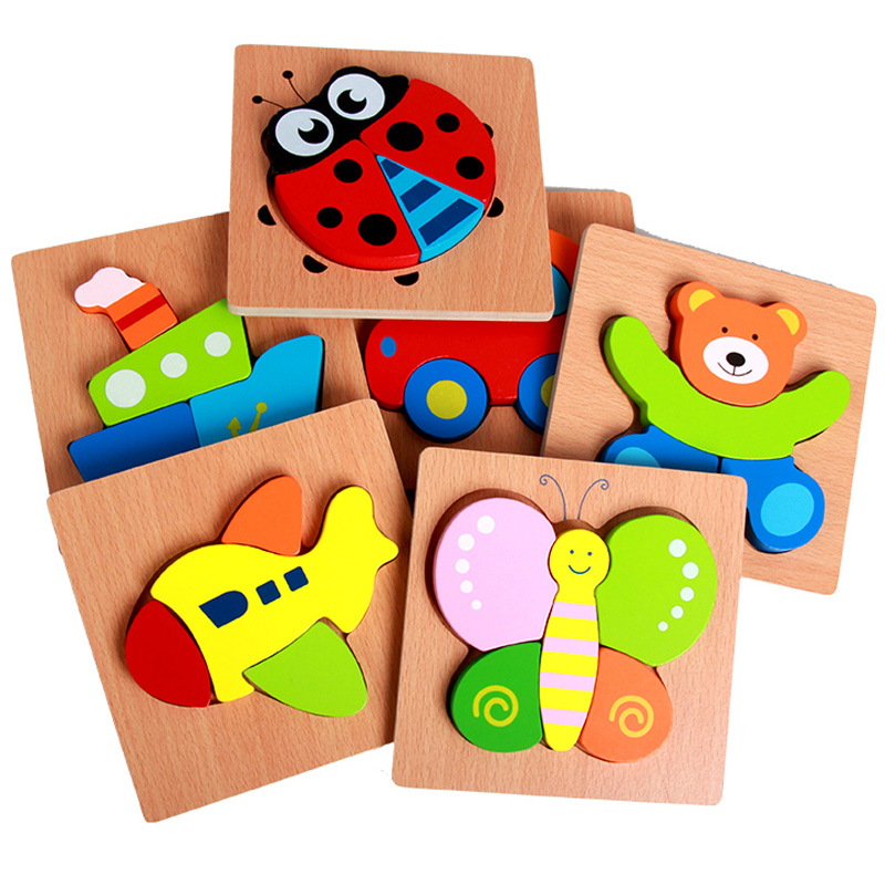 High quality Kids Wooden 3D Puzzle Jigsaw Lovely Colorful Cartoon Animal Vehicle Beech Wood Kids Educational Toys for Children baby toys new cartoon 3d jigsaw puzzle building toys for children wooden traffic animal design kids toy