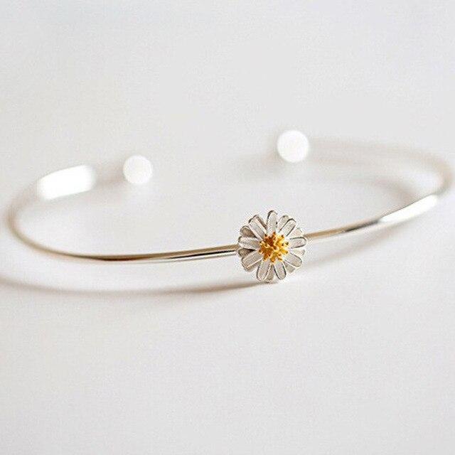 ba368d7cd733 Silver Plated Open Charming Cuff Bracelet Bangle Jewelry Beautiful Female  Sunflower Daisy Flower Pattern Bangle Bracelet Women