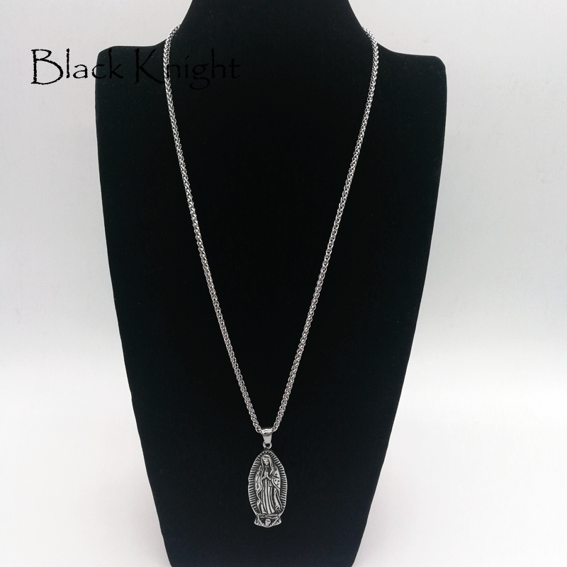 Black Knight Christian Virgin Mary pendant necklace Vintage silver color Stainless steel religious Virgin Mary necklace BLKN0628 in Pendant Necklaces from Jewelry Accessories
