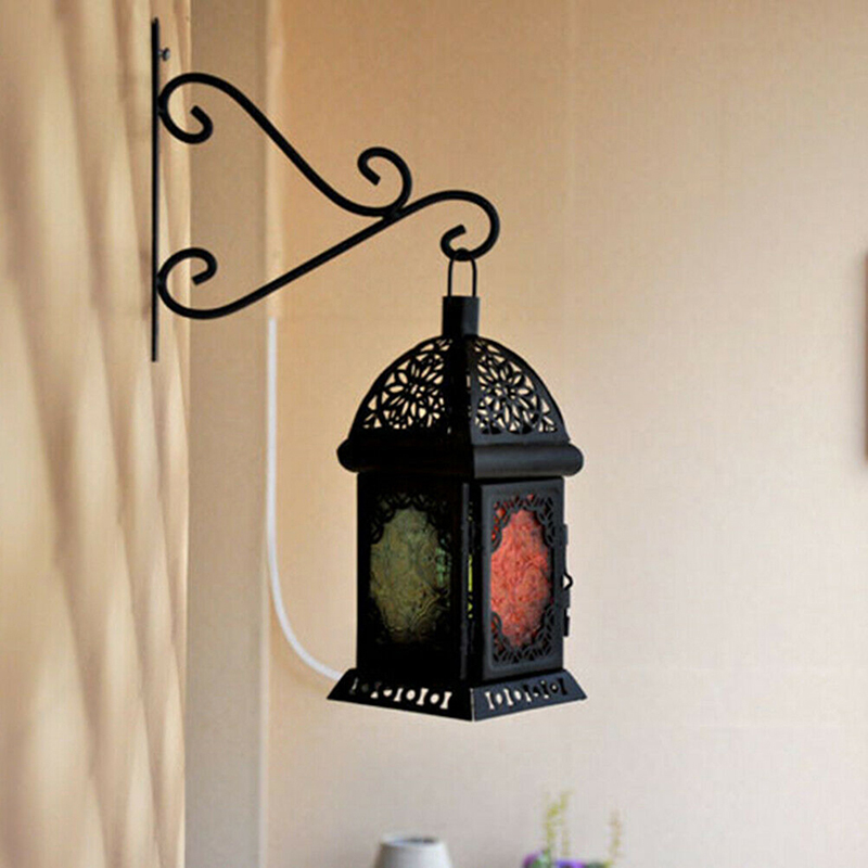 1pc European Style Creative Wrought Iron Flower Candlestick Wind Lamp Wall Hook Rack Hook For Indoor Balcony Outdoor Home