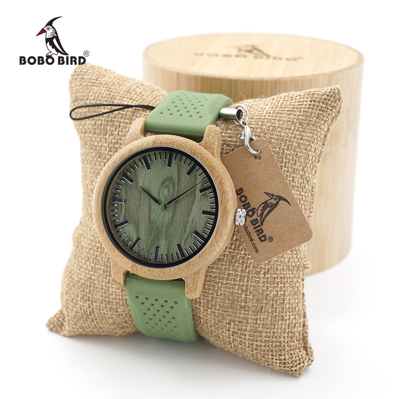 BOBO BIRD Mens Casual Bamboo Wooden Watches With Silicone Straps Japan Quartz Movement Sport Watch In Wood Box
