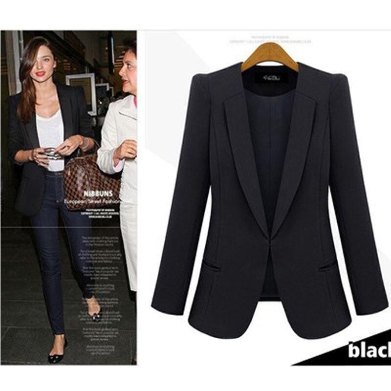 2018 New Spring U0026 Autumn Women Coat Jacket Thin Small Suit Jacket Big Size Black Blue Slim ...