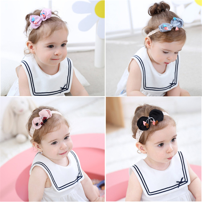 1 Pcs New Baby Bow Dot Lovely Headbands Cute Child Cotton Bowknot Hairband Kids Birthday Holiday Wide Soft Hair Accessories