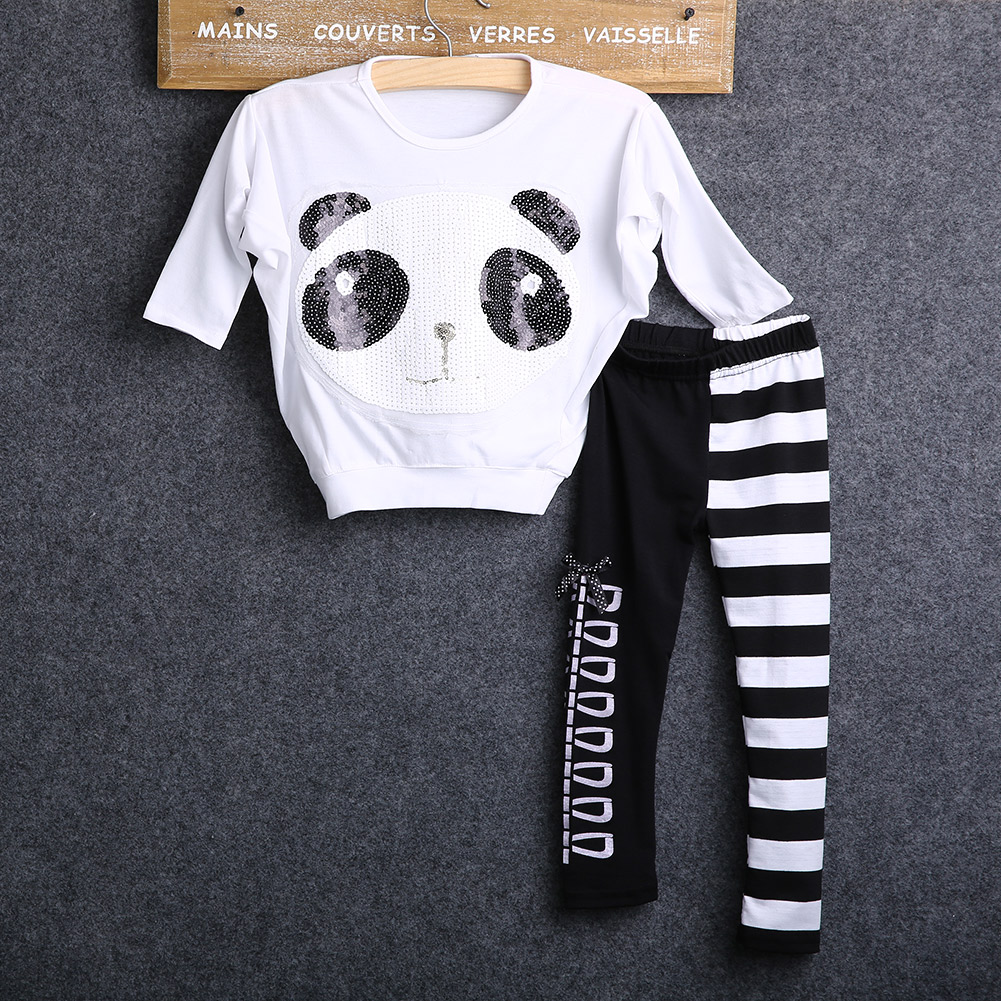 2015 New autumn Girls 2Pcs Outfits Panda Long Sleeve Tops+Striped Pants Kids Baby Clothing Sets image