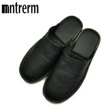 남성 슬리퍼에 Mntrerm 봄 슬립 부드러운 편안한 100% 암소 가죽 정품 가죽 신발 푸시 대형 신발 가정 용품