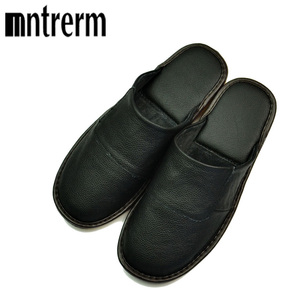 Image 1 - Mntrerm Spring Slip On Men Slippers Soft Comfortable 100% Cow Leather  Genuine Leather Shoes push large size shoe houseware