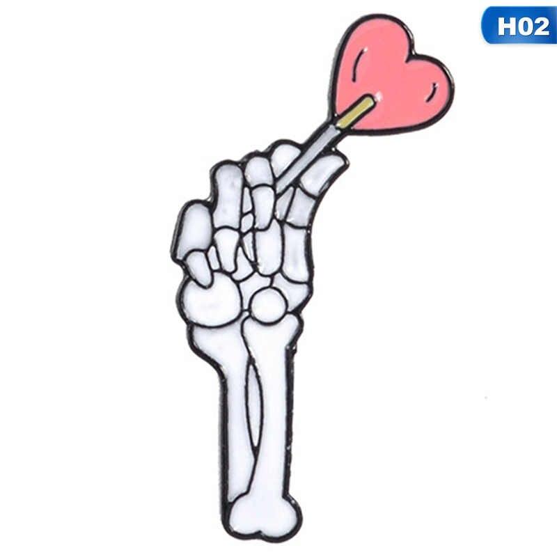 Amor gótico Esqueleto Mão Com Pirulito Coração Broche Pin de Lapela Denim Jeans Camisa Saco de Presente Da Jóia Do Punk Escuro