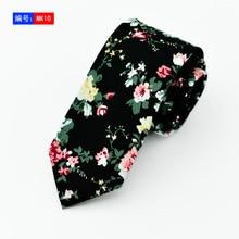 6cm Mens Floral Printed Cotton Ties Neckties Designer Fashion Navy Blue Slim Neck Tie Corbatas Hombre