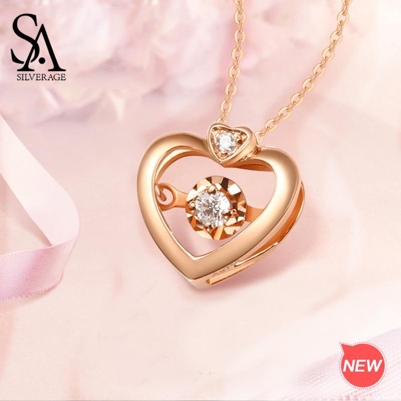 Colliers en or Rose femme, pendentif en or Rose pour femme, bijoux en or véritable, avec maillons, 18K
