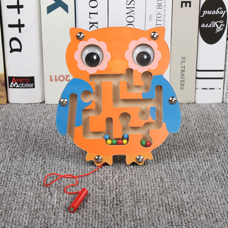 Animals Style Wooden Toy Children Magnetic Track Maze Jigsaw Board Kids Educational Montessori Learning Puzzle Game Toy 04L