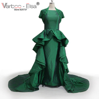 VARBOO_ELSA Jurken גאלה שמלת הערב מוסלמית תחרה מעיל ראפלס מקיר לקיר טפטה שמלת ערב מסיבת נשף דה גלימה אלגנטית