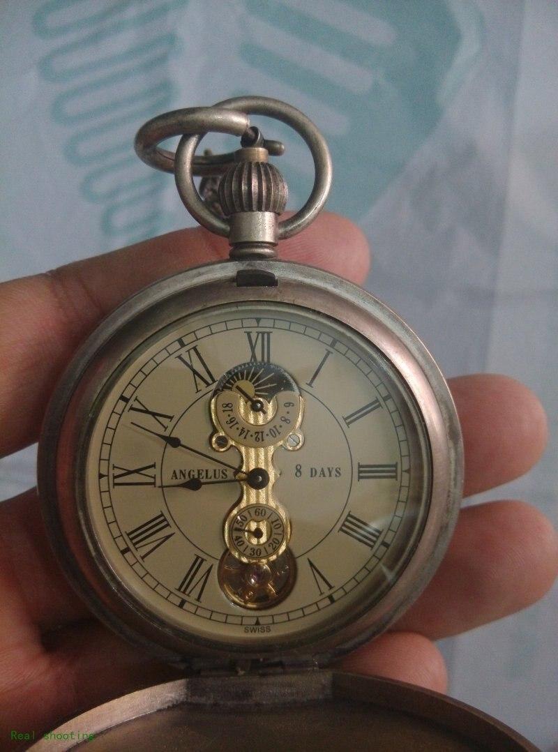 Ancienne horloge en verre de la dynastie Qing royale en laiton \ montre de poche mécanique, argent, avec marque, livraison gratuite