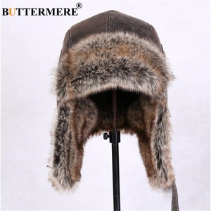 Image 5 - BUTTERMERE Winter Hats For Men Women Brown Ear Flaps Leather Russian Winter Hat Ushanka Bomber Trapper Hat Male Fur Snow Caps