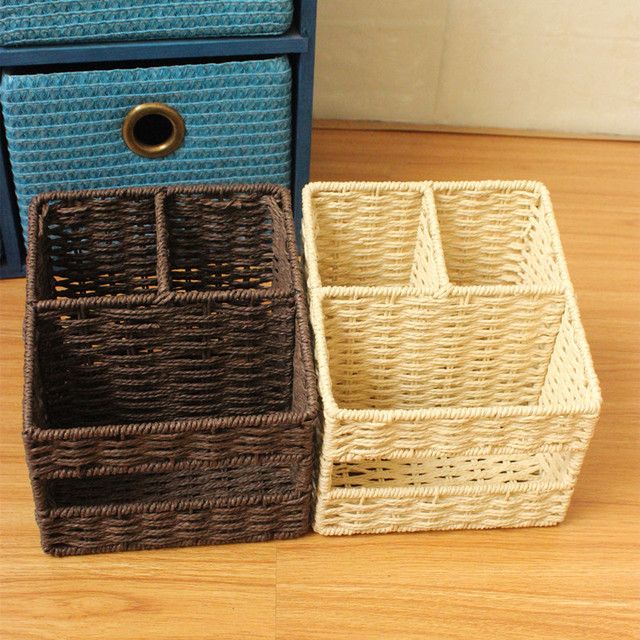 Eco Friendly Braid Remote Control Storage Box Mobile Phone Storage Baskets  Box Table Desktop Organizer