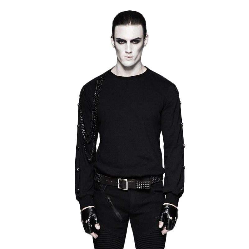Heavy Punk Simple à manches longues en Nylon mince chandail T-Shirt noir col rond boutons à manches longues pull décontracté hauts