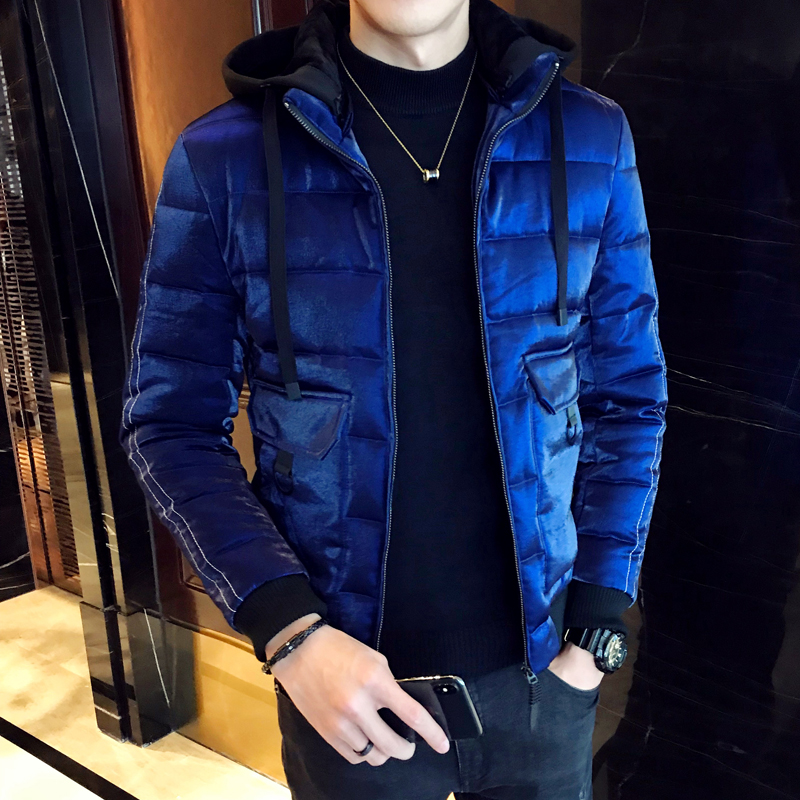 b48eb56eabb Royal Blue Winter Jackets Mens Fashion Parka Mens Hooded Jackets Man Winter  Clothes Warm Casacos De Inverno Silver Bomber Jacket