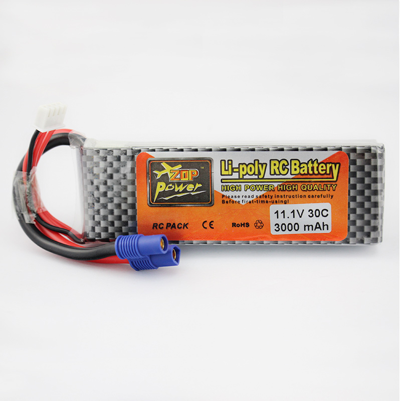 ФОТО high power zop lipo battery 11.1v 3000mah 3s 30c max 40c ec3 female plug for rc quadcopter car boat truck airplane helicopter
