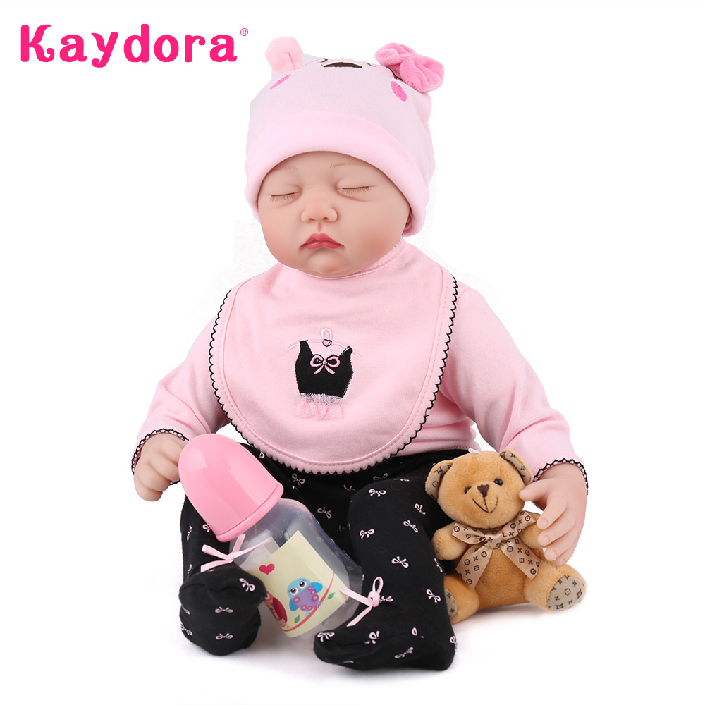 Kaydora 22 Inches Silicone Reborn Doll 55 CM Sleeping Dolls Toys Handmade Realistic Playmate Dolls Toys For Kids Birthday Gift high quality candy grabber kids birthday party favors gift desktop mini dolls grabber machine claw toys free shipping