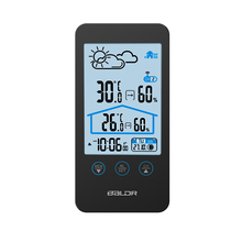 شاشة تعمل باللمس ترمومتر لاسلكي الرطوبة في الأماكن المغلقة في الهواء الطلق محطة الطقس توقعات الطقس + مرحلة القمر وظيفة التقويم
