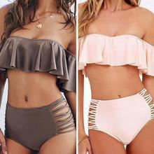 High Waist Shoulder Free Bikini