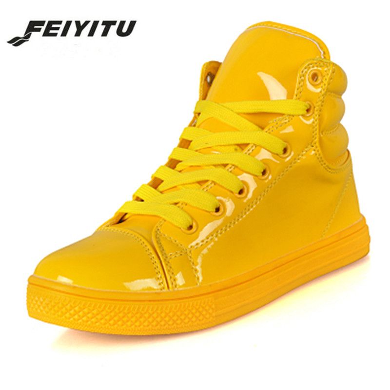 FeiYiTu New Arrival Couple Platform Shoes Lighted Candy Color High-top Shoes Men Fashion Flat Trainers White Black Yellow Red недорго, оригинальная цена
