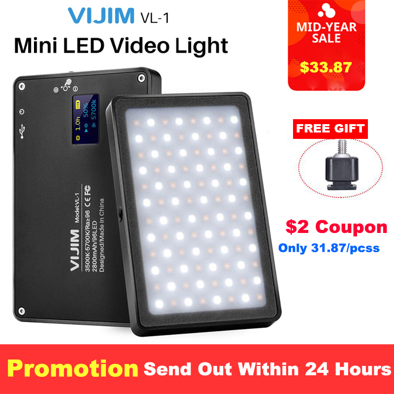 VIJIM VL 1 Mini LED Video Light Magnetic Dimmable Photography Lighting On Camera 96 LEDs Lamp W Cold Shoe High CRI96+ vs Manbily