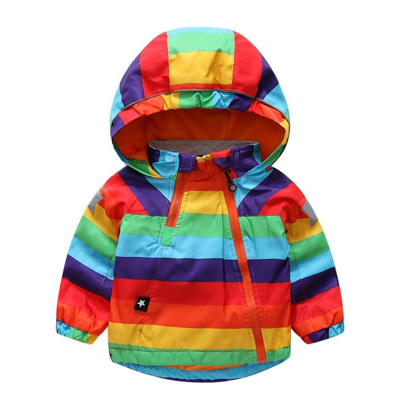 26deb4c92af5 2018 Autumn Winter Jacket Boys Girls Kids Outerwear Cute Rainbow ...