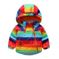 2019 Autumn Winter Jacket Boys Girls Kids Outerwear Cute Rainbow Windbreaker Coats Fahsion Baby Children Clothing Kids Jacket