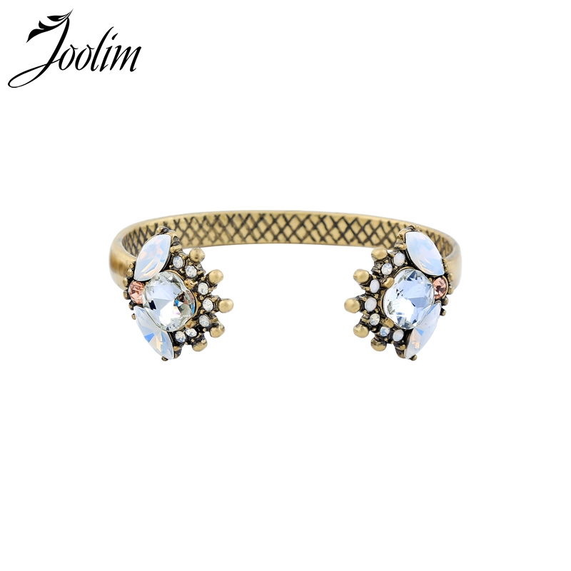 JOOLIM Blue White Glass Cuff Bracelet Vintage Bracelet