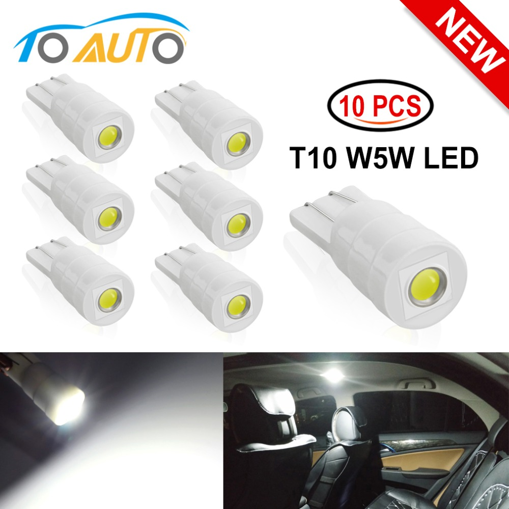 Ceramic T10 W5W LED Bulbs 194 168 Car Interior Lights Wedge Parking Lights Bulbs For Cars Plate Light Auto Lamp White 6000K 12V