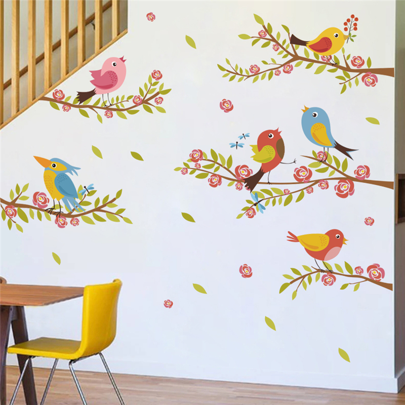 cute birds on the branch flower wall stickers for kids