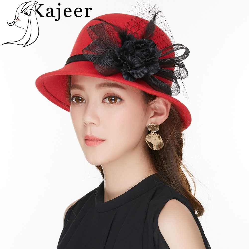 843eacd64be Kajeer Vintage Red Wool Felt Hats 2019 Women s Classic Black Net Yarn  Feather Flower Bowler Hat