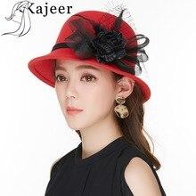 Kajeer Vintage Red Wool Felt Hats 2019 Women's Classic Black Net Yarn Feather Flower Bowler Hat Tren