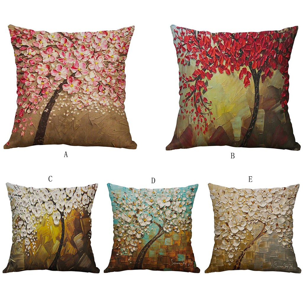 Simple Linen Creative Lovely Pillow Cover Car Pillow Covers Square 45cm*45cm Polyester Pillowcase Home Decorative High Quality-in Cushion Cover from Home & Garden