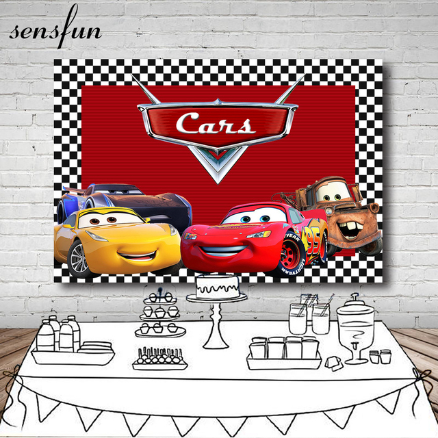 Sensfun Boys Birthday Party Backgrounds For Photos Studio 7x5FT Vinyl Red Cartoon Movie Characters Cars Photography Backdrop