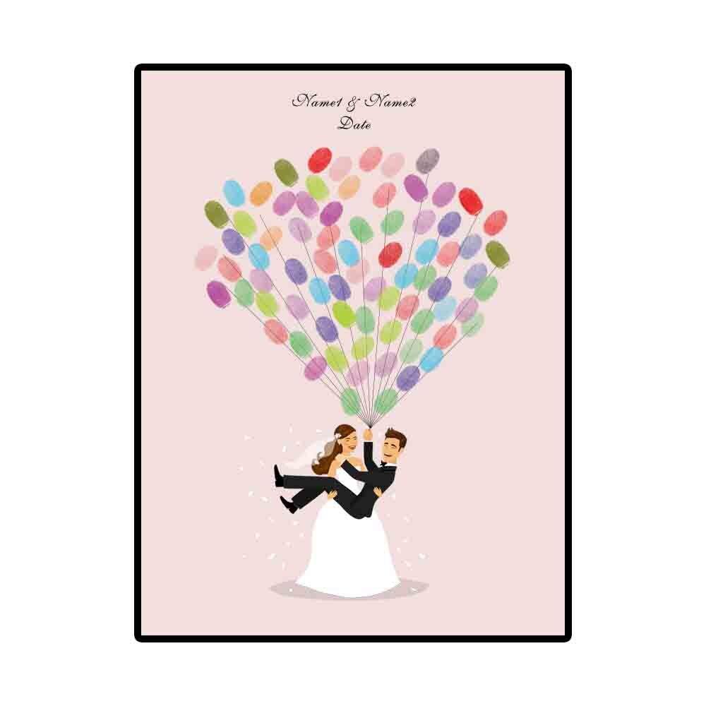 1 Set Romantic Wedding Tree Canvas Painting DIY Wedding Guest Book Fingerprint Signature Painting Wedding Decor With Inkpad