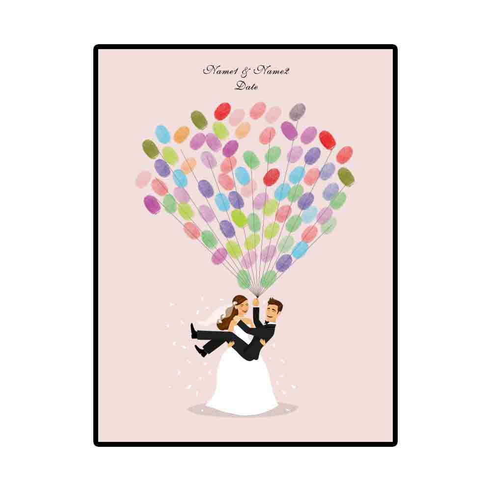1 set Romantic Wedding Tree Canvas Painting DIY Wedding Guest Book Fingerprint Signature Painting Wedding Decor with Inkpad