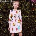 Vestido de princesa Meninas Roupas de Primavera 2017 Da Marca Meninas Vestidos com Padrão Animal do Traje para a Festa de Crianças Roupas Infantis De Menina
