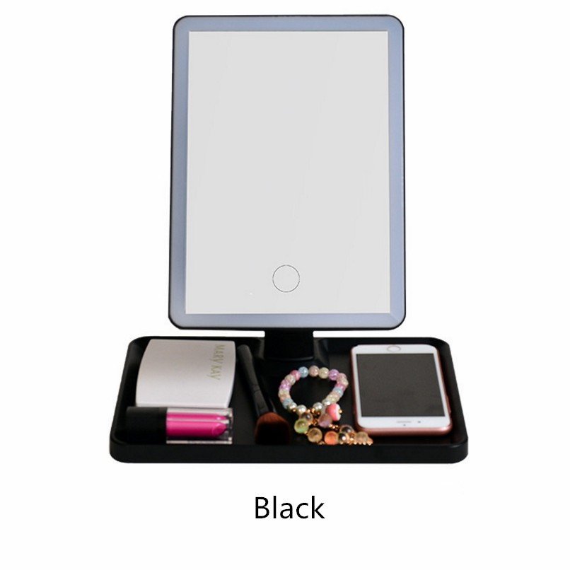 Makeup Vanity Mirror With Light LED Mirror With Smart Touch Screen Dim Led Dual Power Supply Rotation Cosmetic Mirror lights