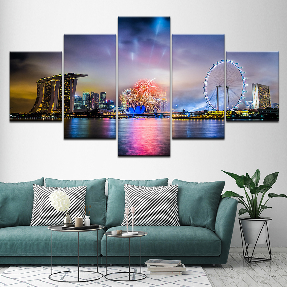 Singapore Night Canvas Set Modular Pictures For Wall